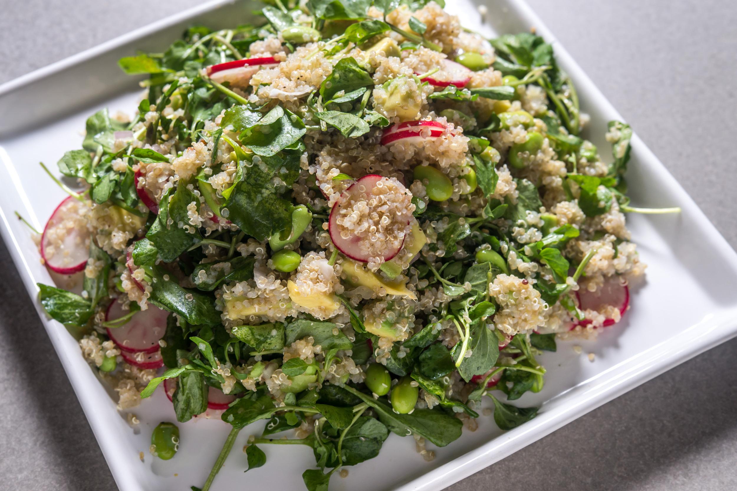 Quinoa salad with watercress, edamame and radishes