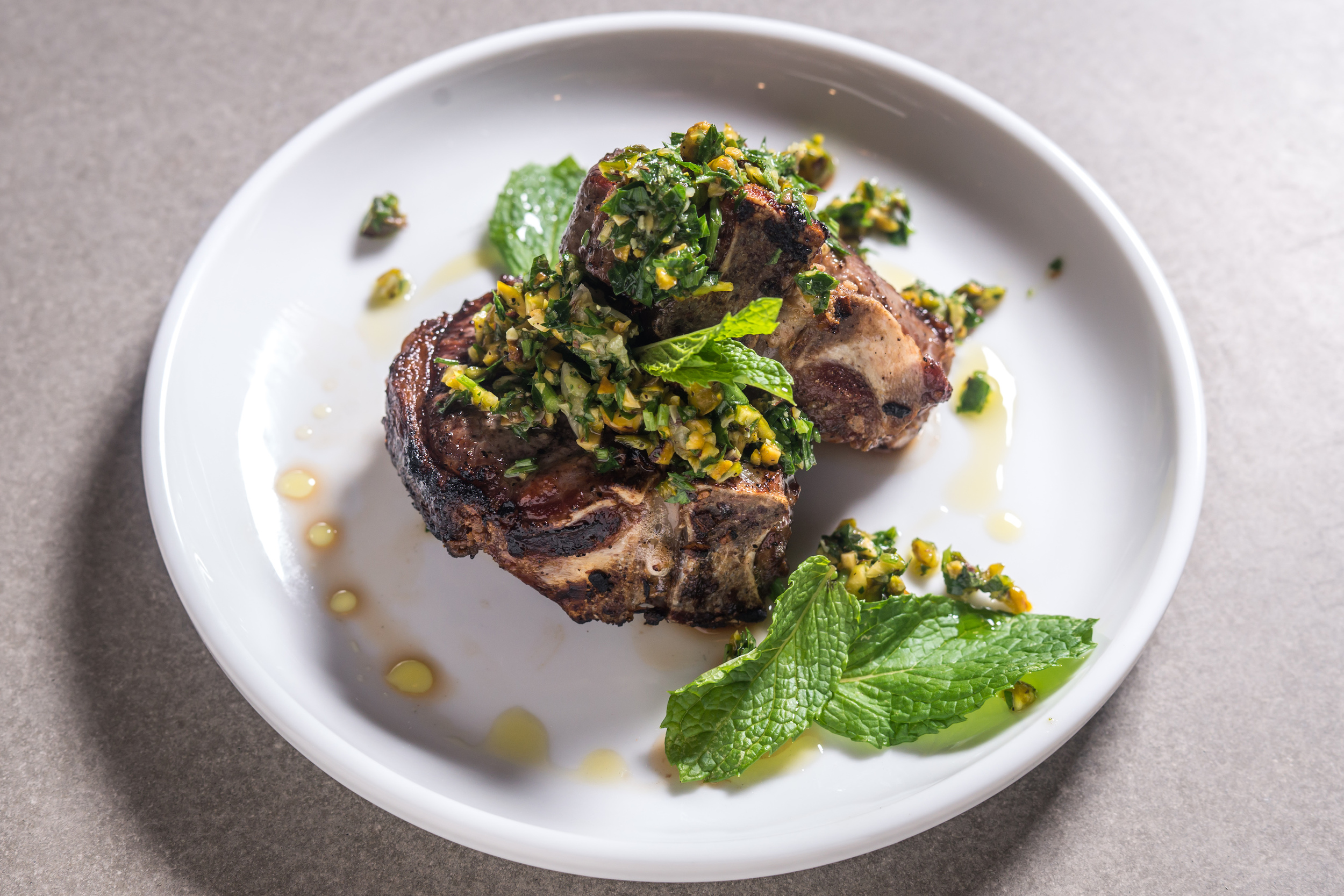 Grilled lamb chops with pistachio gremolata
