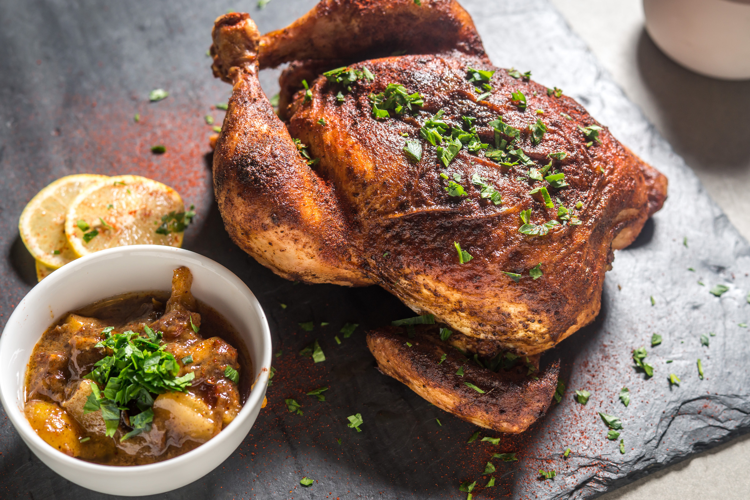 Moroccan spiced chicken with preserved lemons and dates