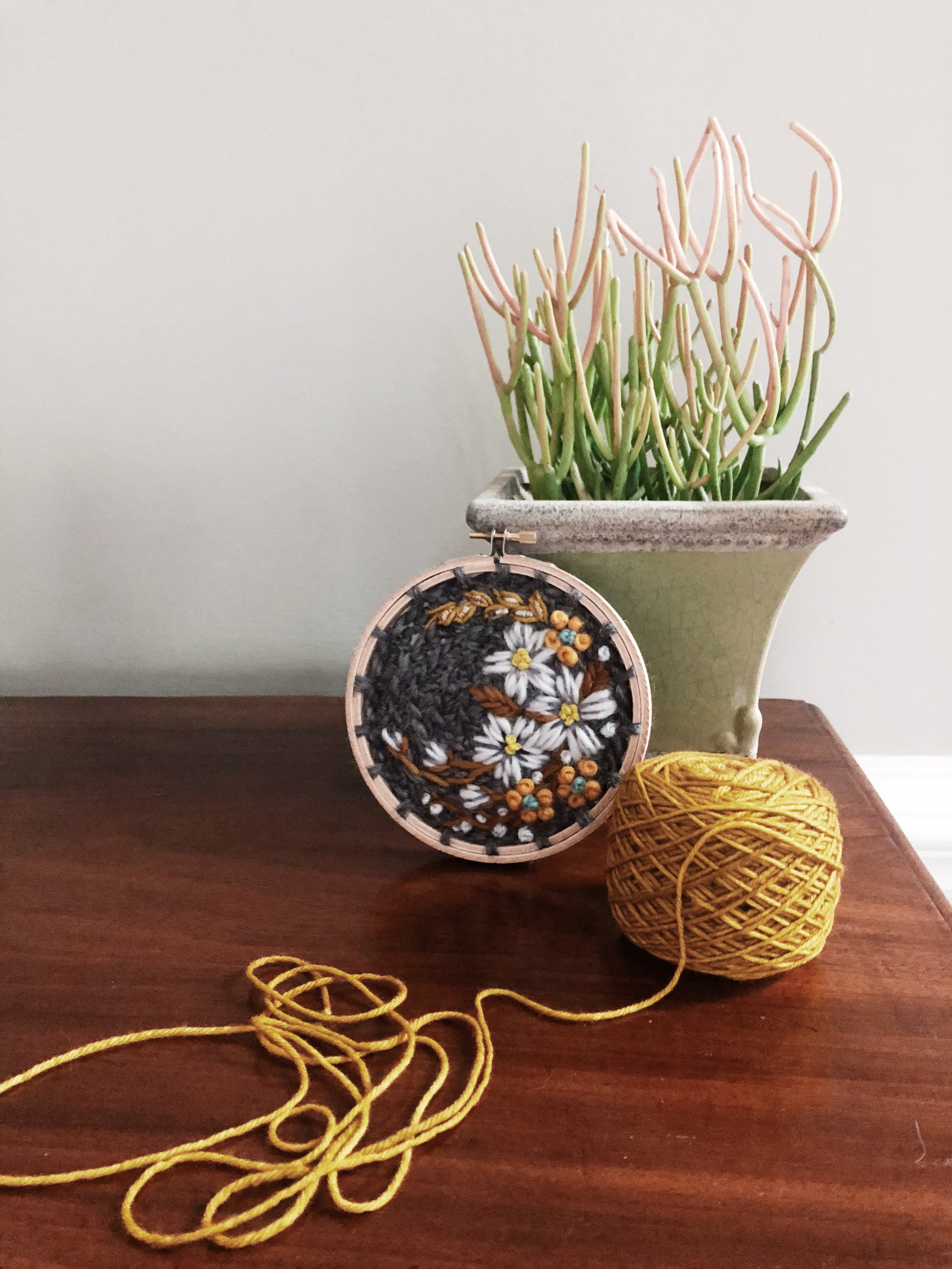 oandystudio.gold.grey.yellow.wool.embroidery.hoop.crewel.tapestry.crochet.pattern.flower.euphorbia.wall