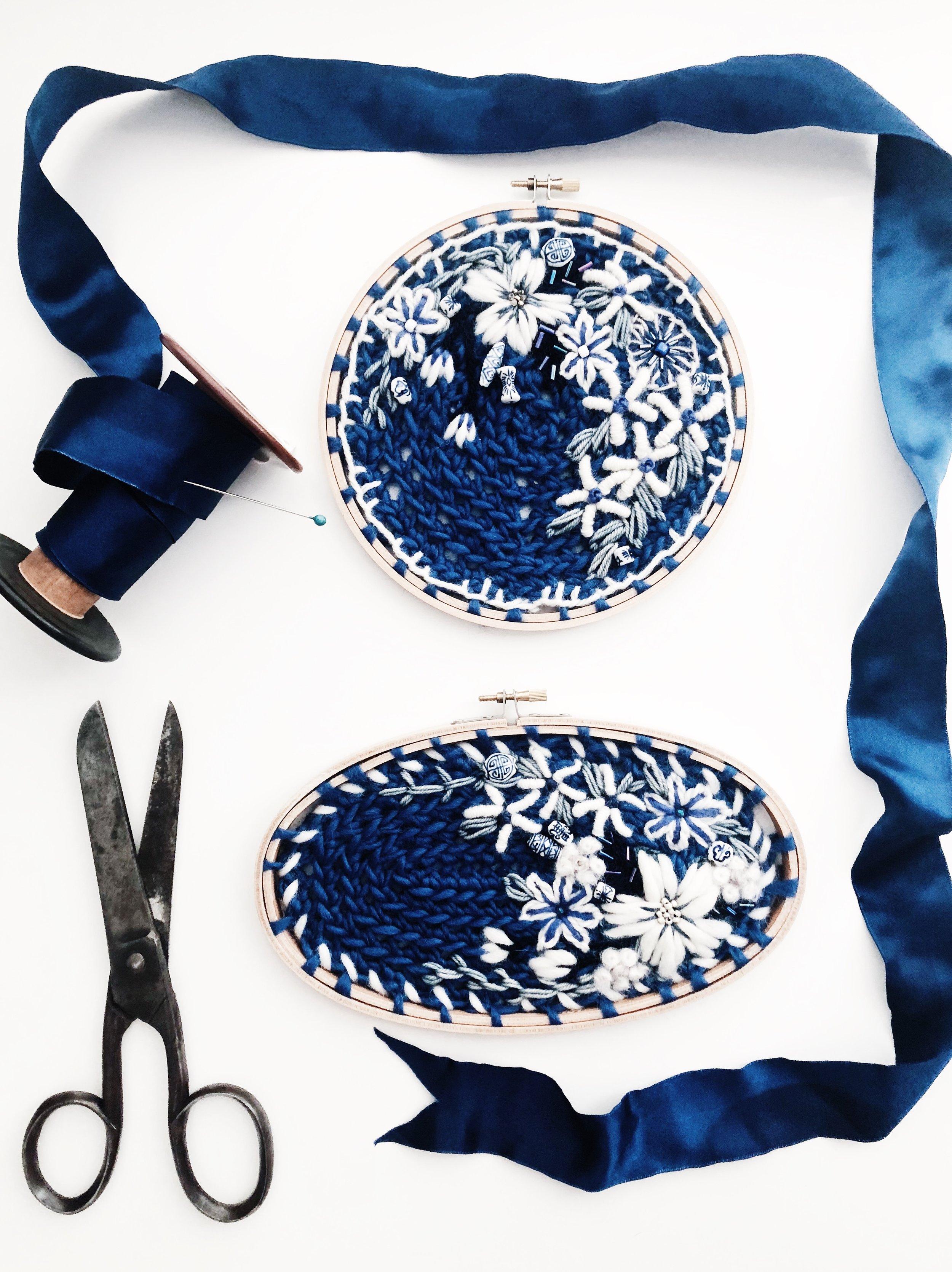 July p.jpgoandystudio.blue.delft.willow.embroidery.hoop.crewel.tapestry.crochet.pattern.flower.wall.hanging