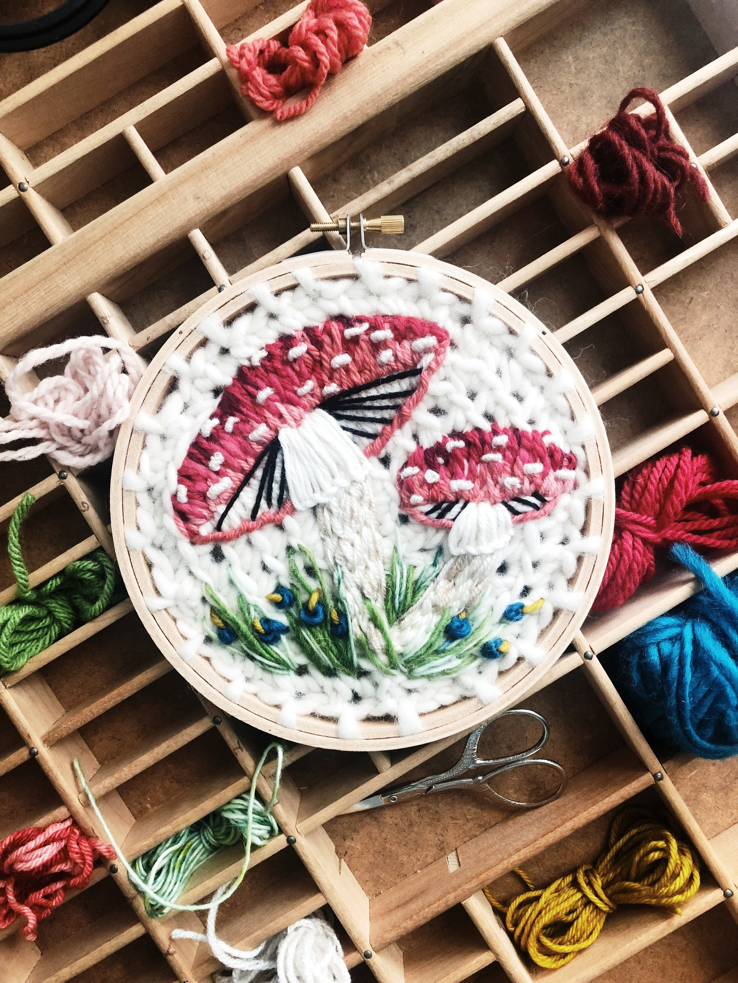 oandystudio.fly.amanita.muscaria.mushroom.toadstool.wall.hanging.embroidery.hoop.crewel.tapestry.crochet