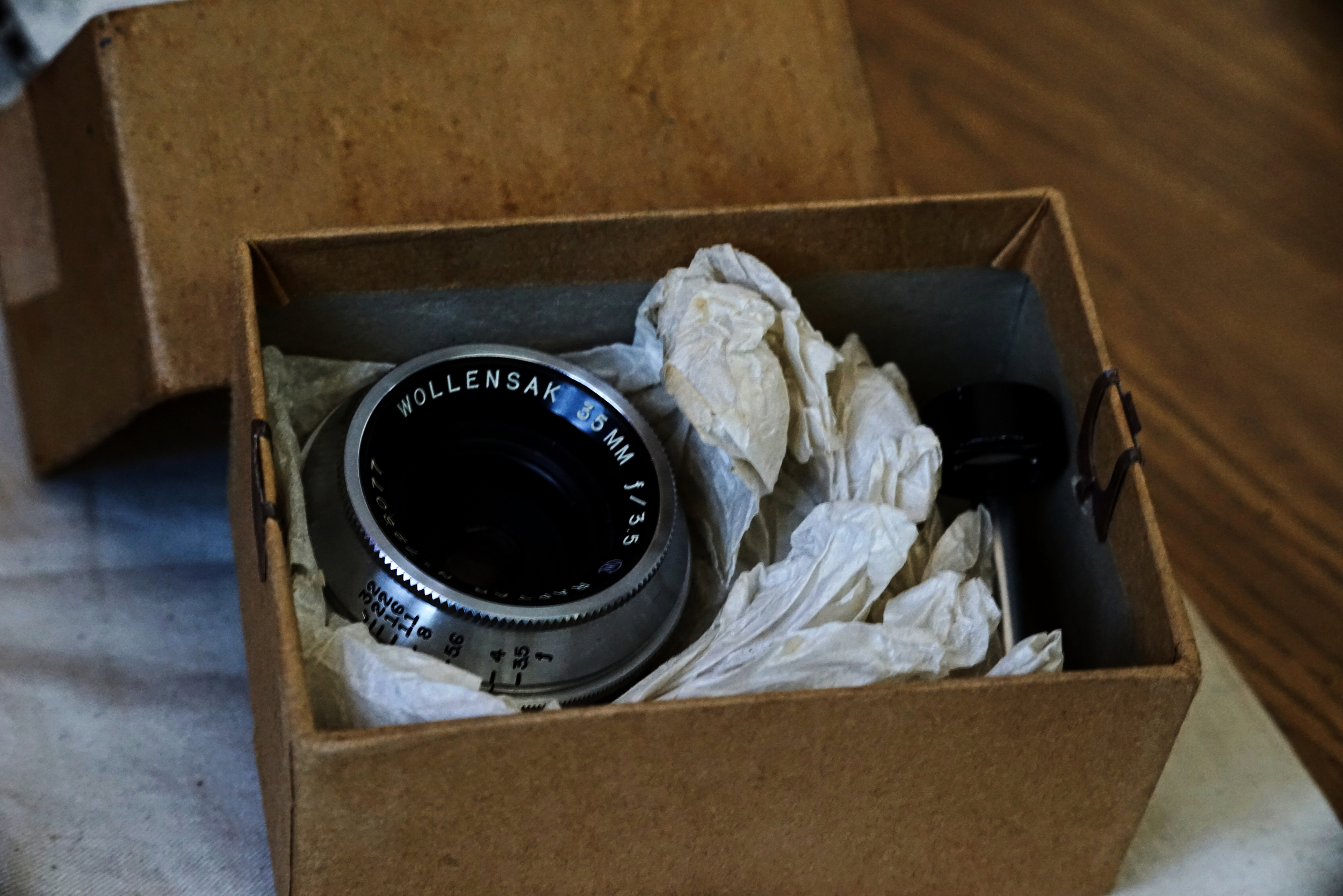 The Wollensak Raptar 35mm f3.5 in its original box.
