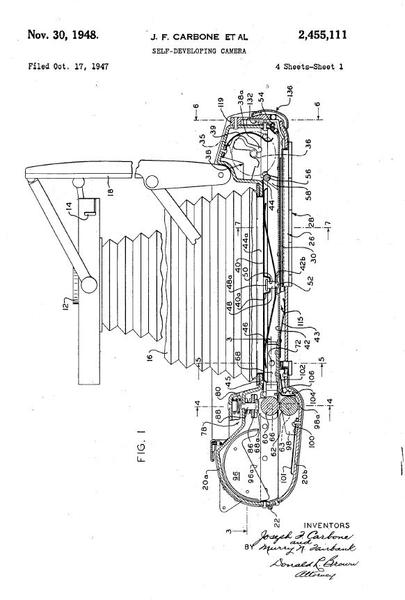 """US Patent #: US002455111  for the Polaroid """"Self-Developing Camera"""""""