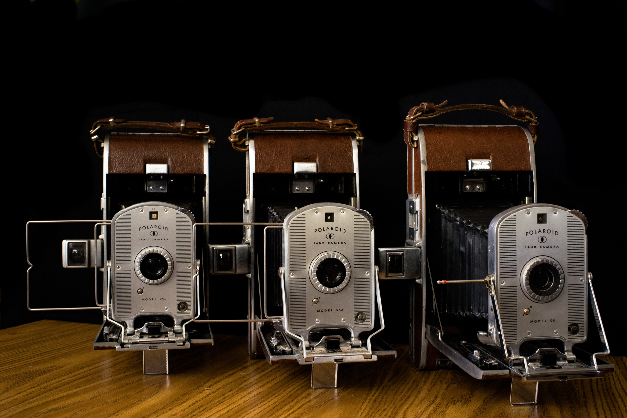 Each of the three Model 95 Land Cameras. (Left to right: 95B, 95A, 95). Each showing slight differences, most notably the view finder.Photo: Trey Takahashi