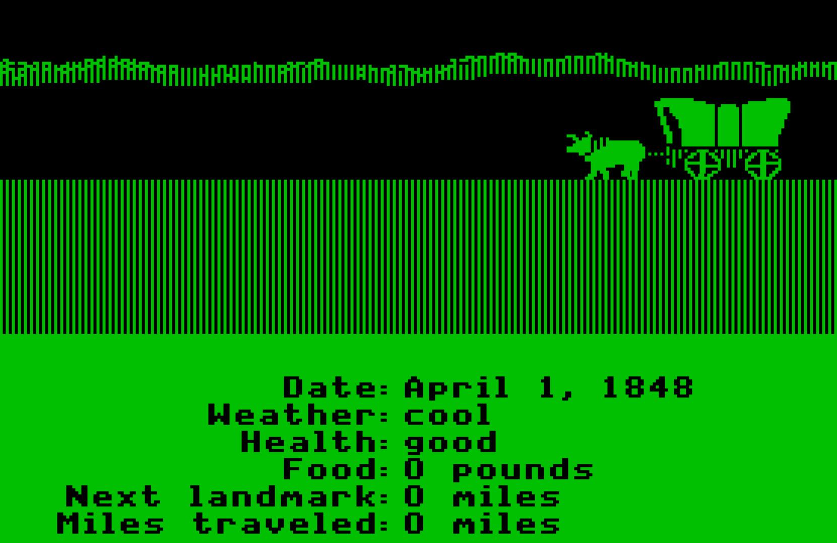 Monochrome (green) screen shot from the original Oregon Trail forthe Apple II c computer.