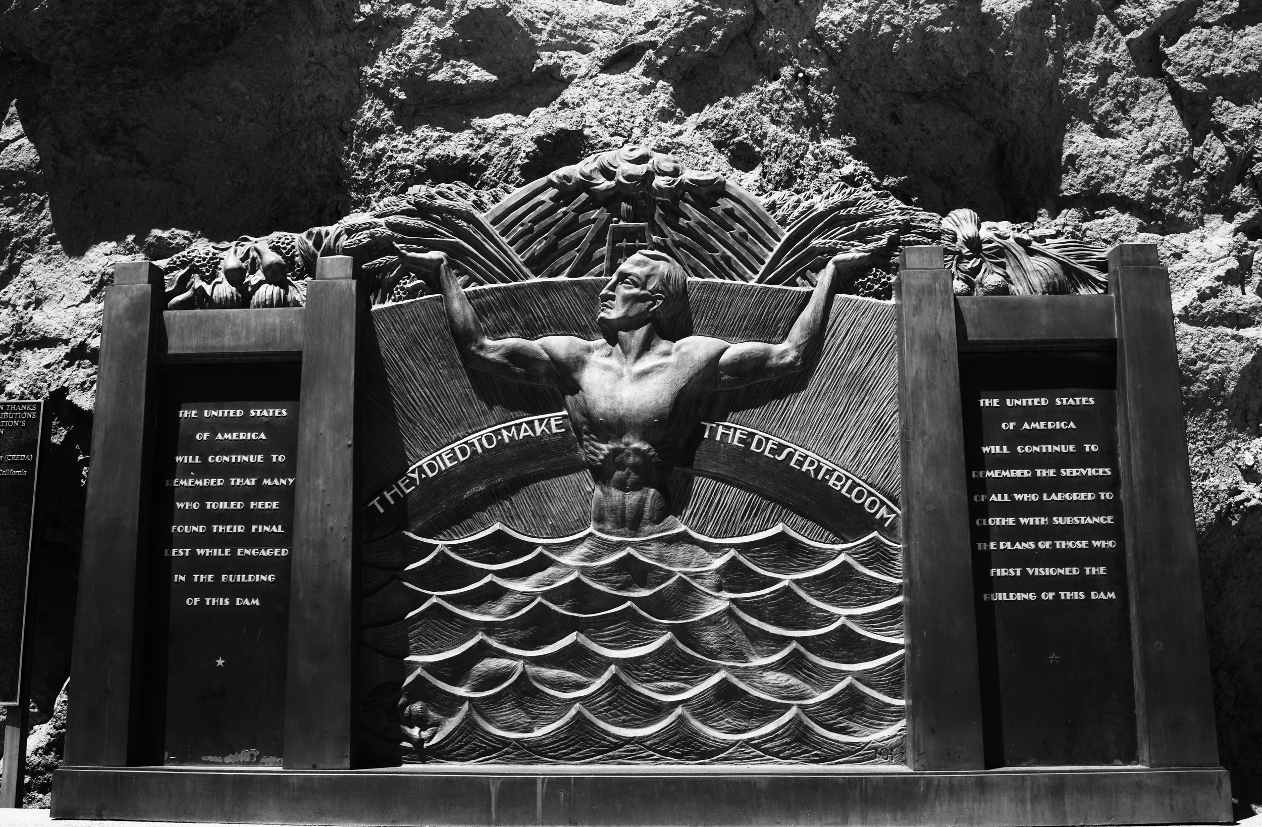 """They died to make the desert bloom"" a power inscription reads on the memorial for those who died building the Hoover Dam.  Photo: Trey Takahashi"