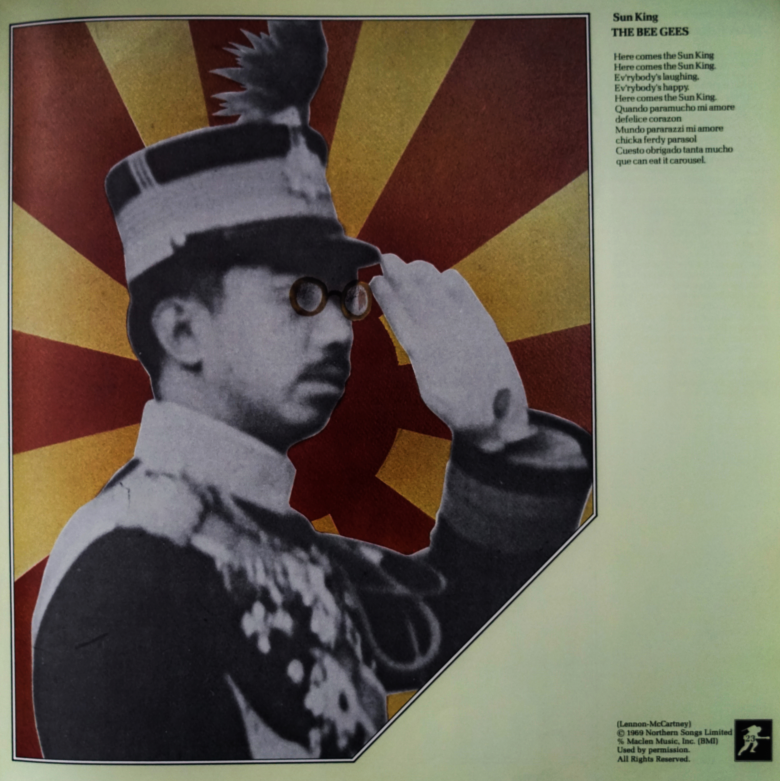 "An artist's parody of Tojo on the track page for the Bee Gee's cover of ""Sun King"""