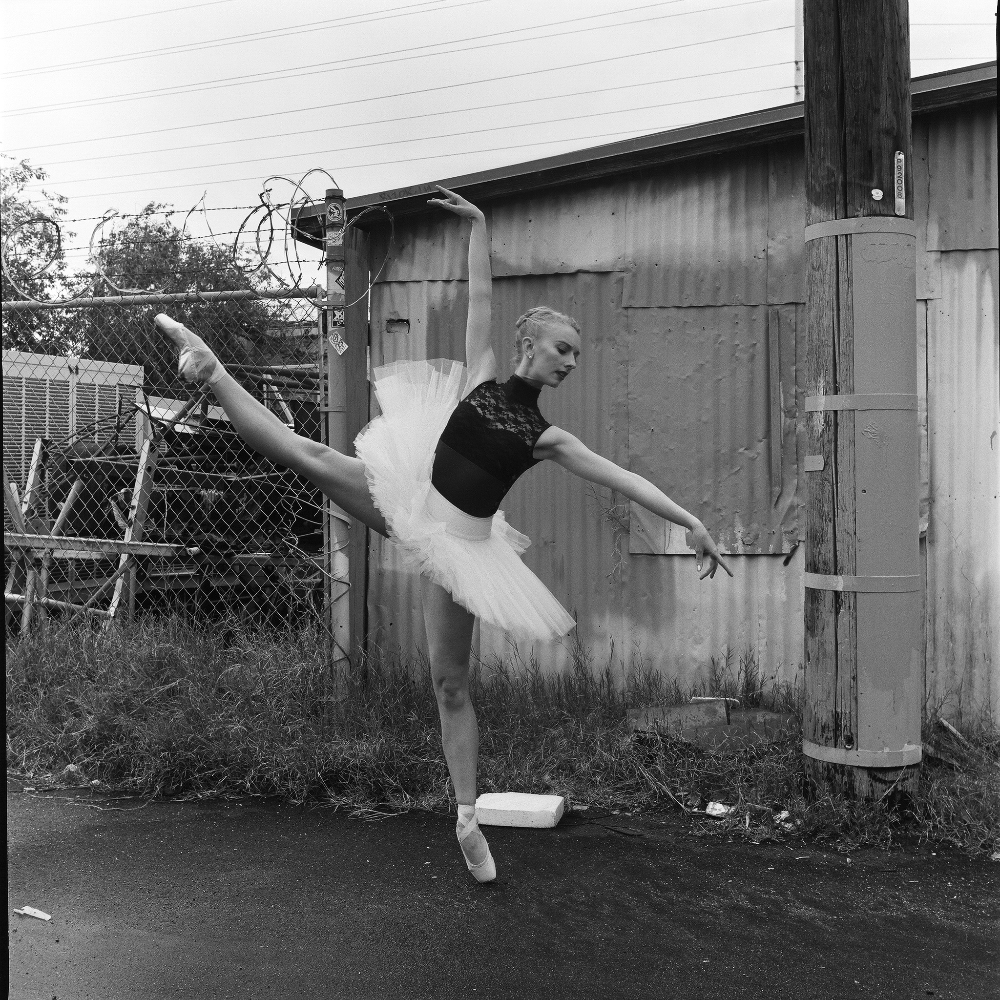 Feat.: Caroline M.  Equipment: Yashica 124G w/ Yashinon 3.5/75  Film: Kodak Tri-X 400/120