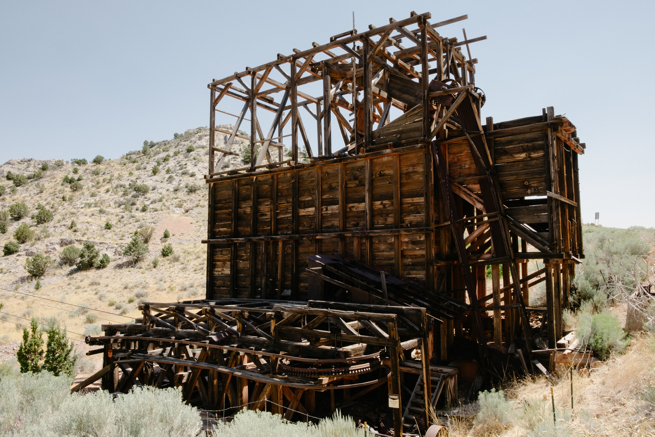 The old mine bucket tram still stands with cables stretching over parts of the town.