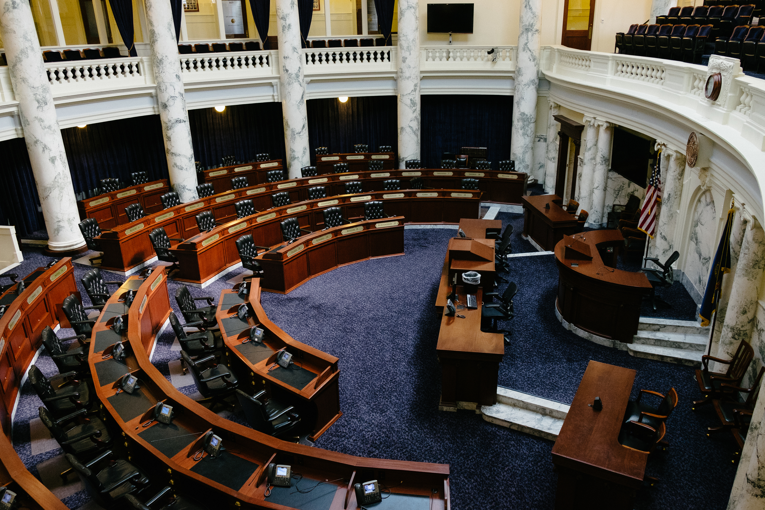 The state legislature meets in both wings and is accessible to the public when not in session.