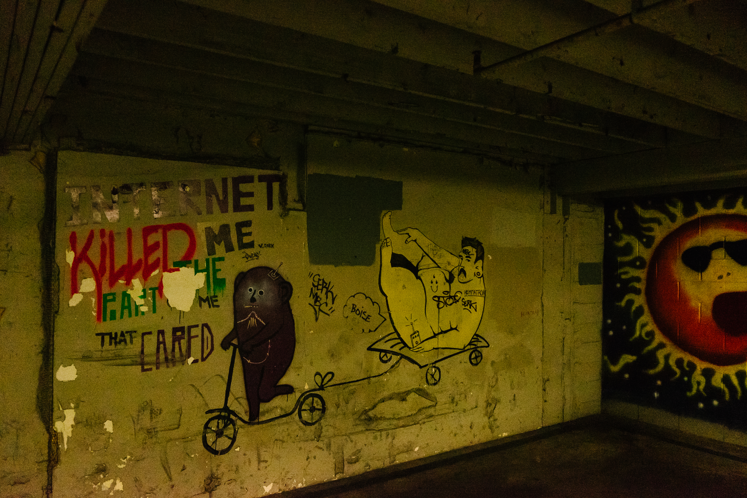 In alleyways or parking garages, there are art decorating the walls creating dazzling displays amongst decay.