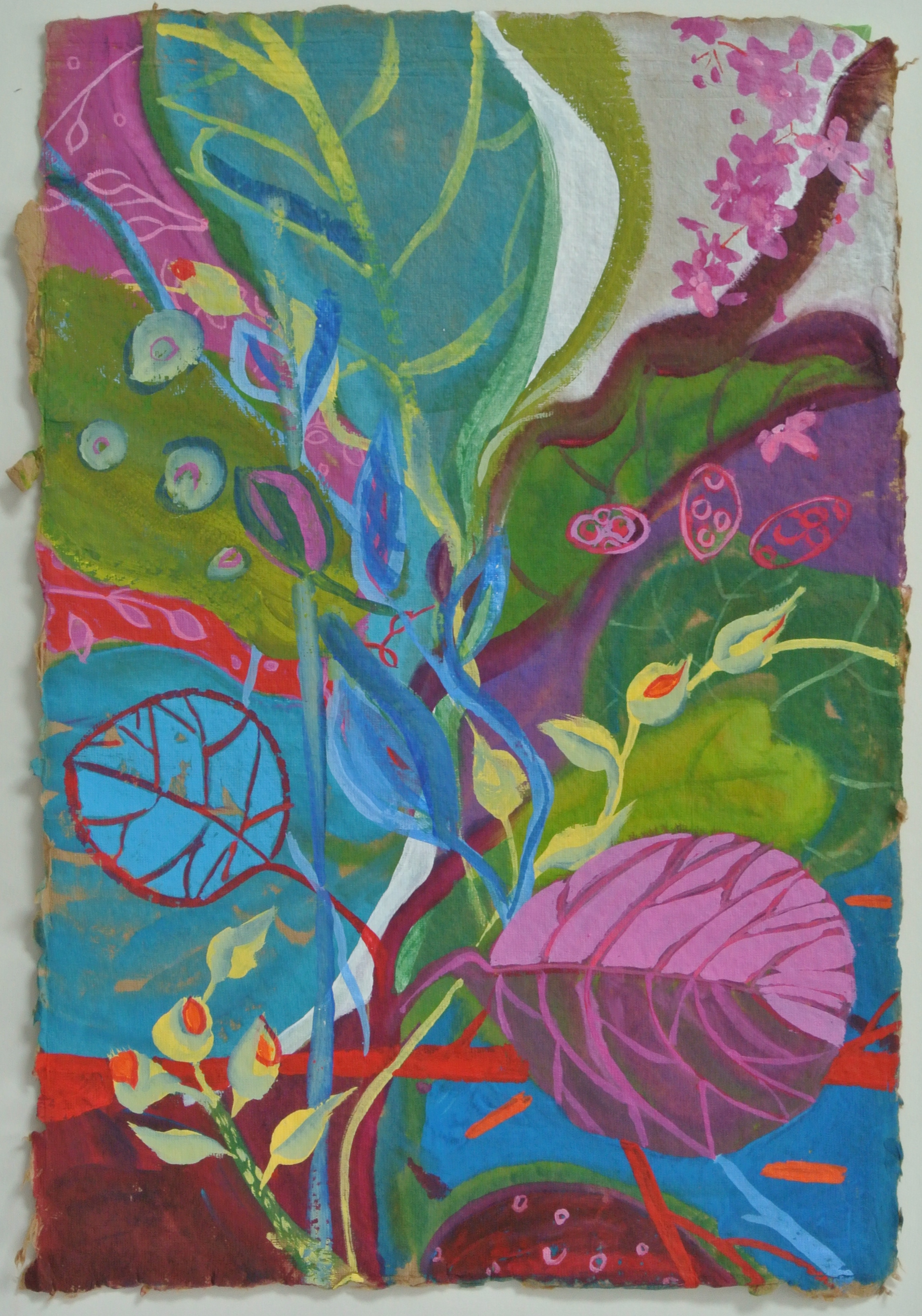 """""""Sea Grapes and Goldfish"""" by Ruth Formica Gouache on brown rag paper painting size18""""X12"""" SOLD"""