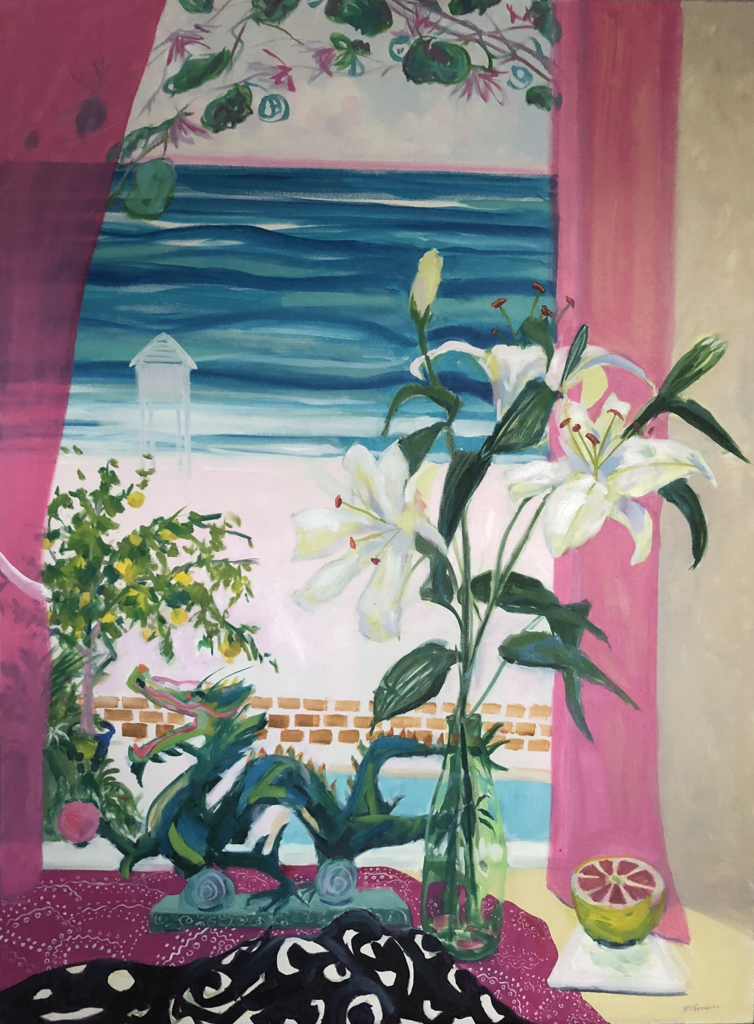 """Lilies and the Dragon"" by Ruth Formica. Oil on Canvas 48""X36"""