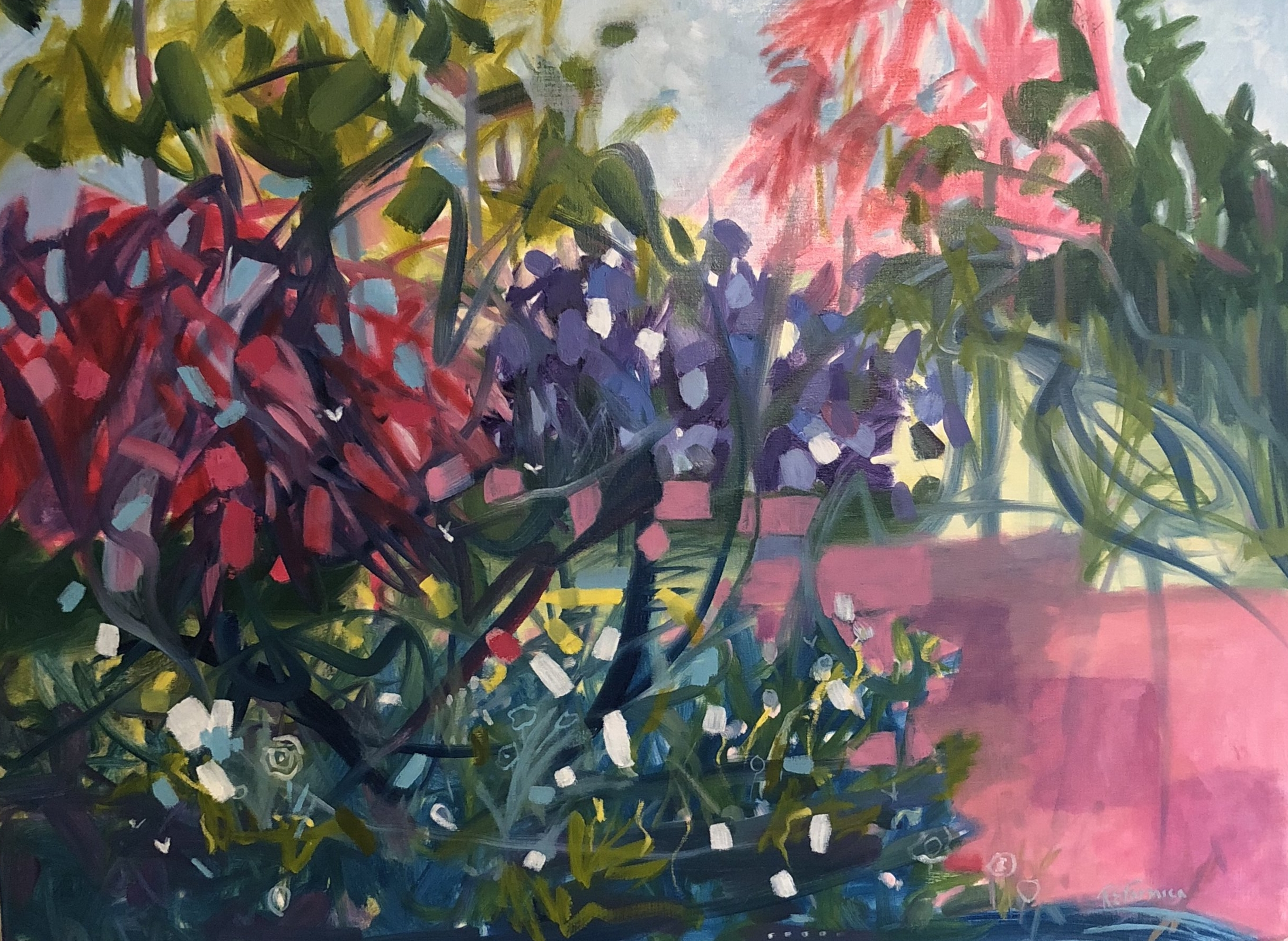 """Suki's Garden"" by Ruth Formica. Oil on Canvas 30""X40"""