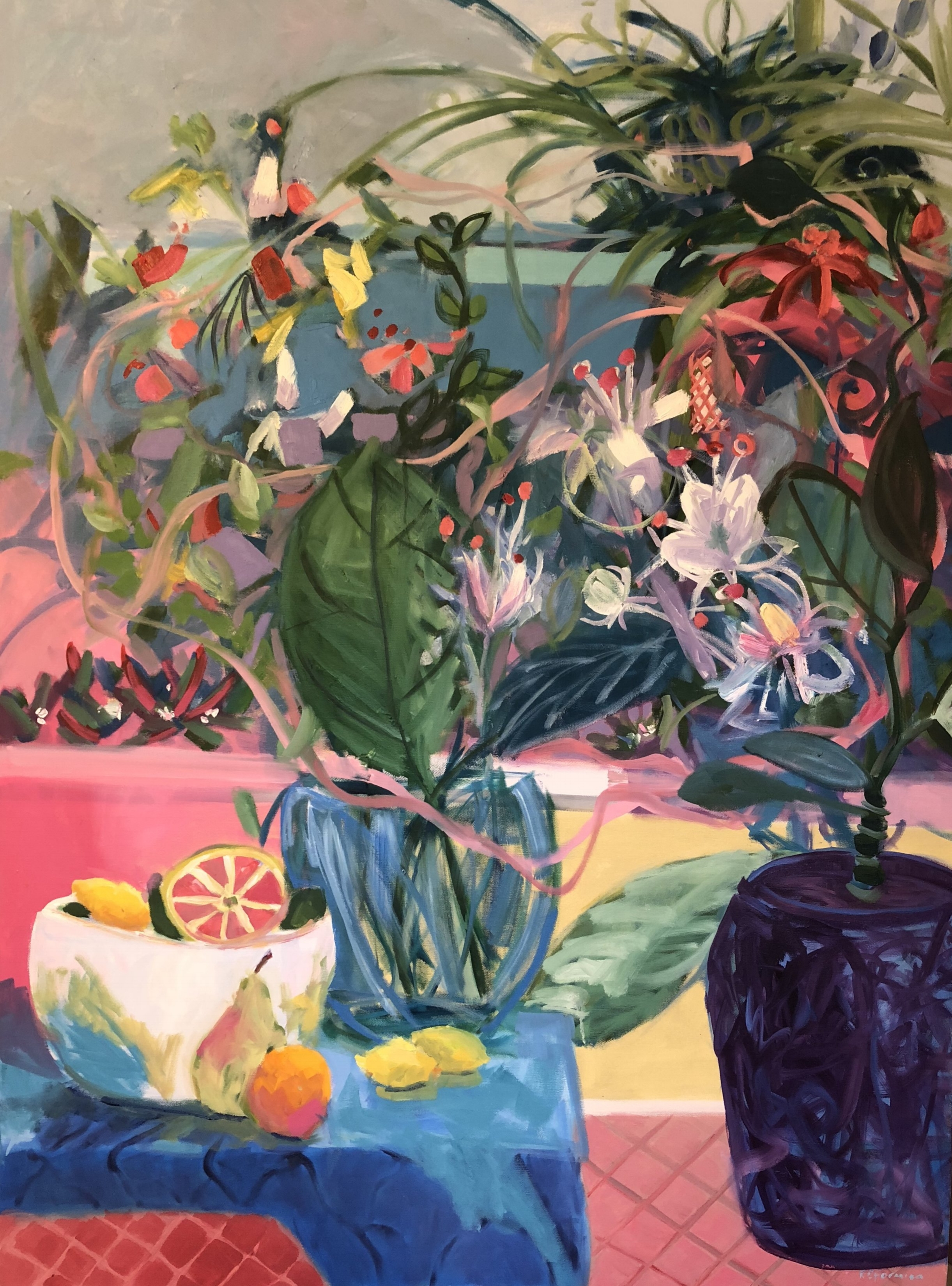 """Fruit and Flowers by the Gulf"" by Ruth Formica. Oil on canvas 48""X36"""