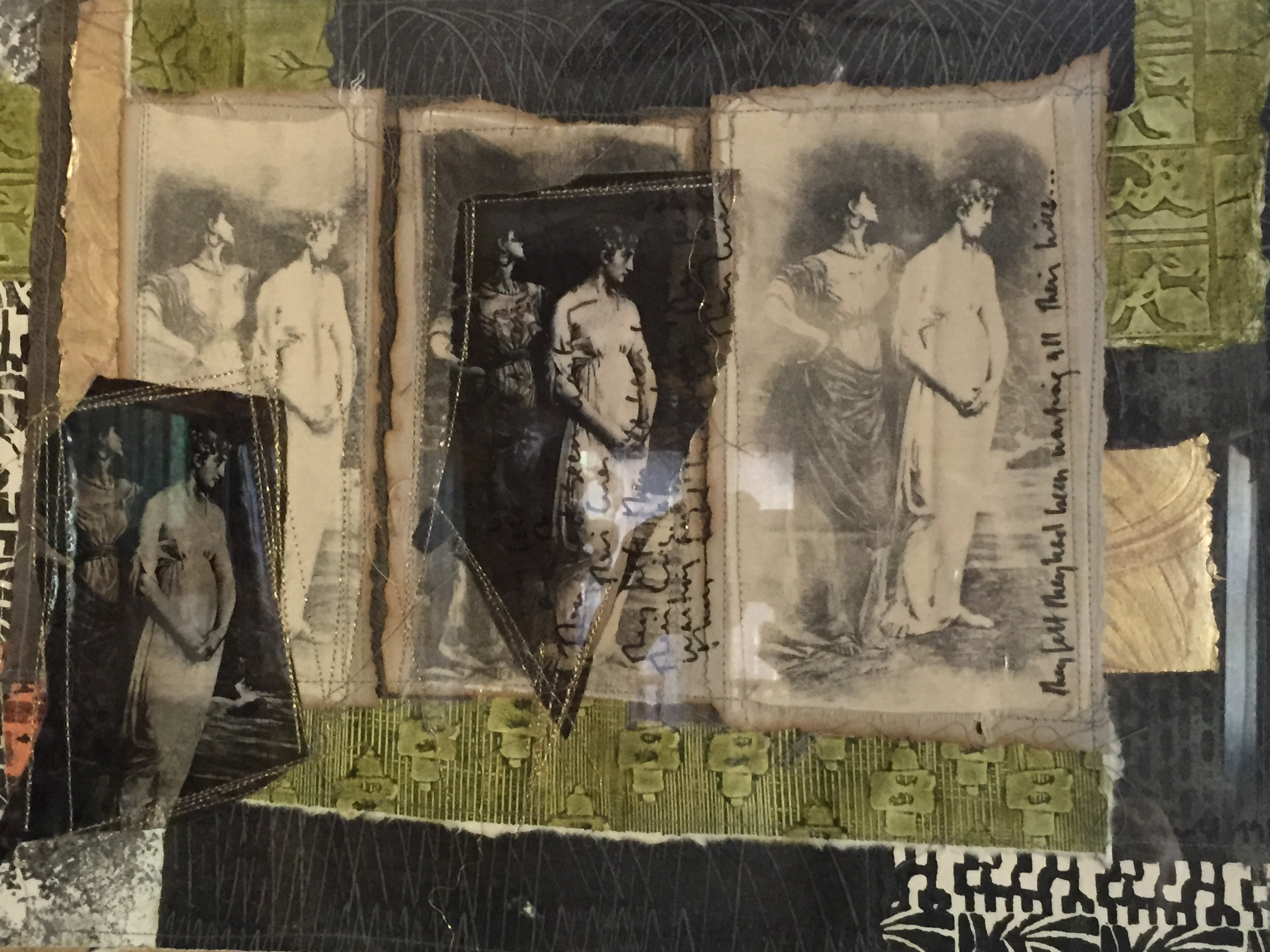 They Felt They Had Been Waiting All Their Lives. 1998. Paste papers and photo transfer collage on silk.