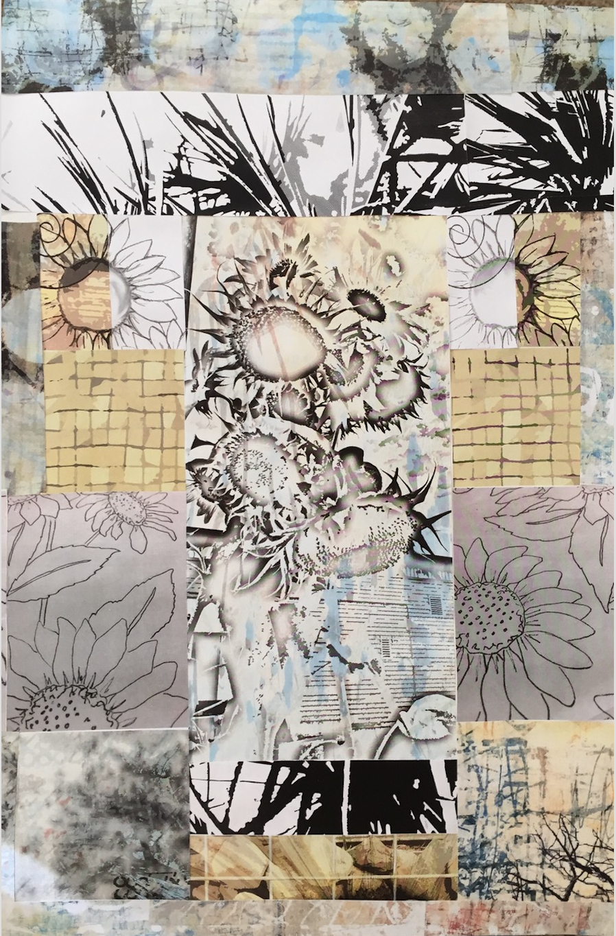 """Paper Collage, """"I love sunflowers!"""""""