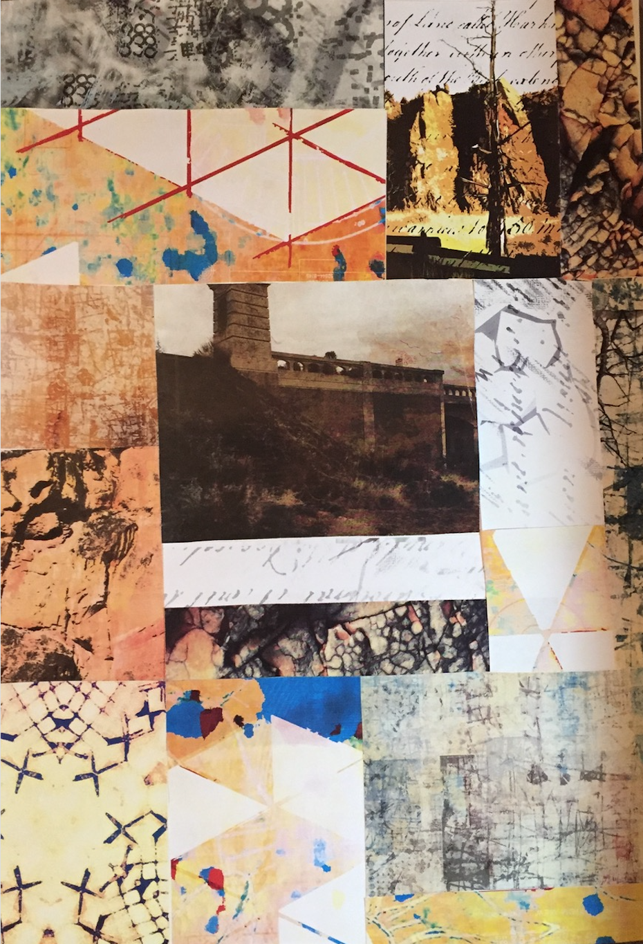 "Paper collage, ""Crooked River Bridge,"" 11x14"