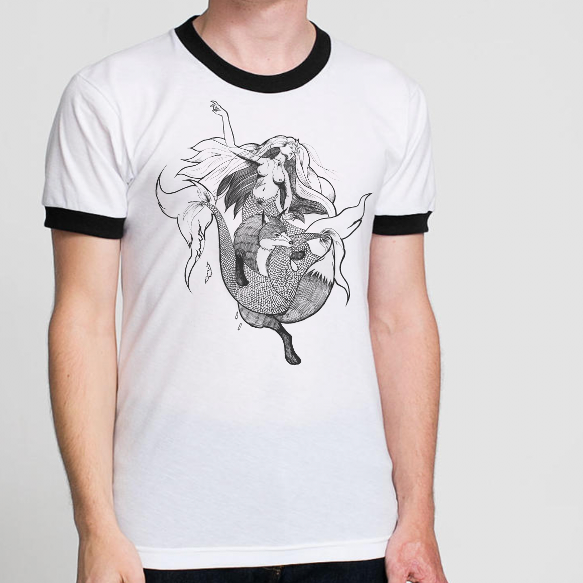 THE FOX AND THE MERMAID - A REBELLIOUS DESIGN AGAINST BIG CHAIN COFFEE SHOPS,DESIGNED AND PRINTED IN HOUSE.
