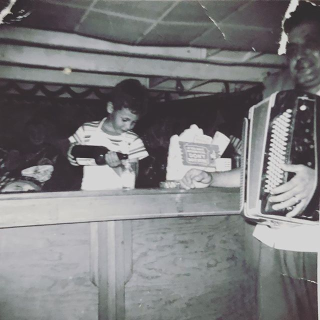 My dad's first job. Pouring beers for pop at Julio's band stand.  @oldschooldads  #startemyoung  #squeezbox  #juliosbandstand