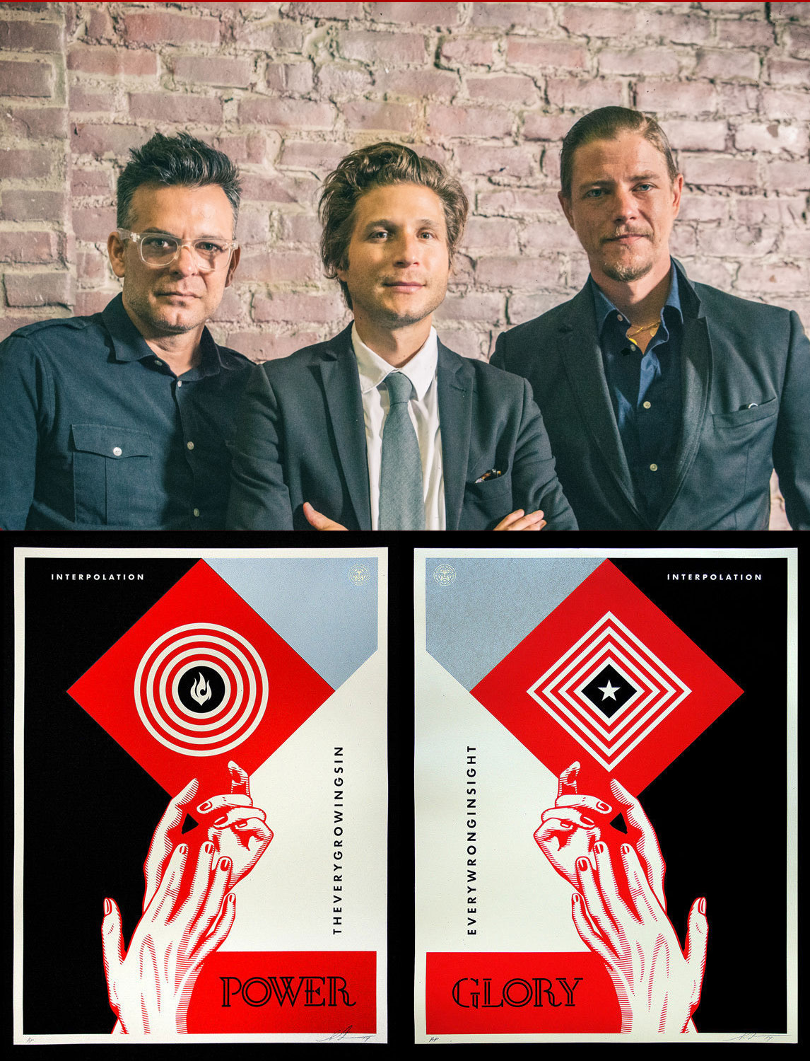"Poster from their 2013 ""Interpolation"" collaboration, signed by all members of the band & Shepard Fairey."