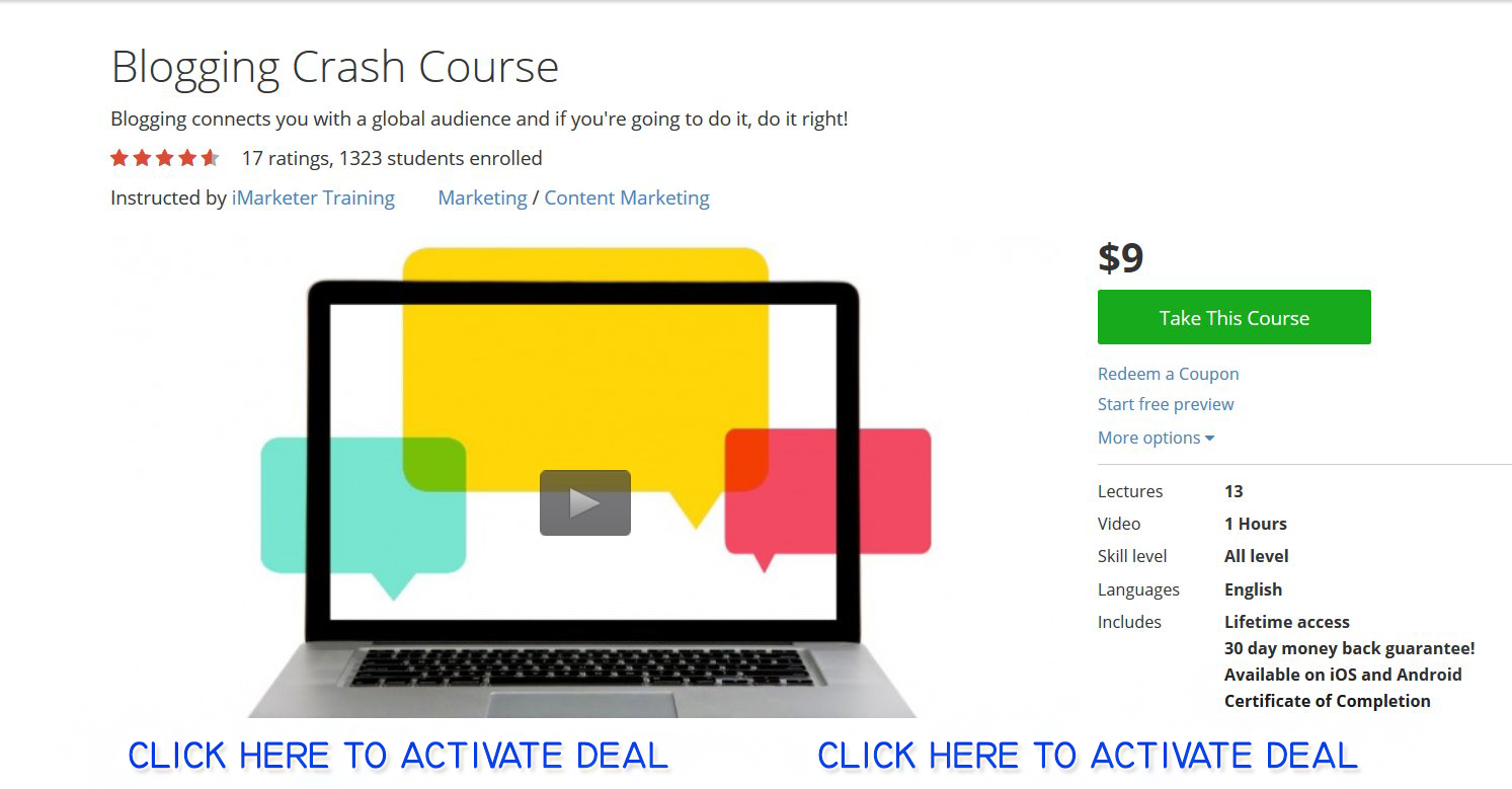 Blogging Crash Course Class Udemy Learning   Source