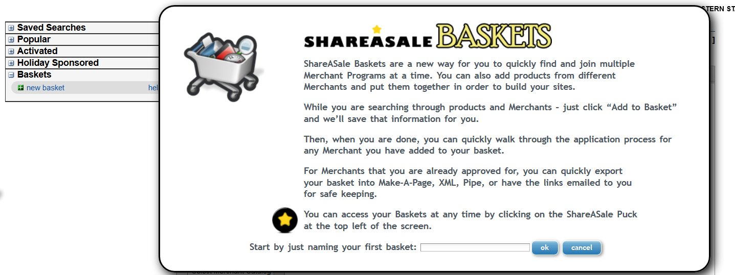 Join Shareasale Affiliate Baskets To Apply For Different Merchants   Source