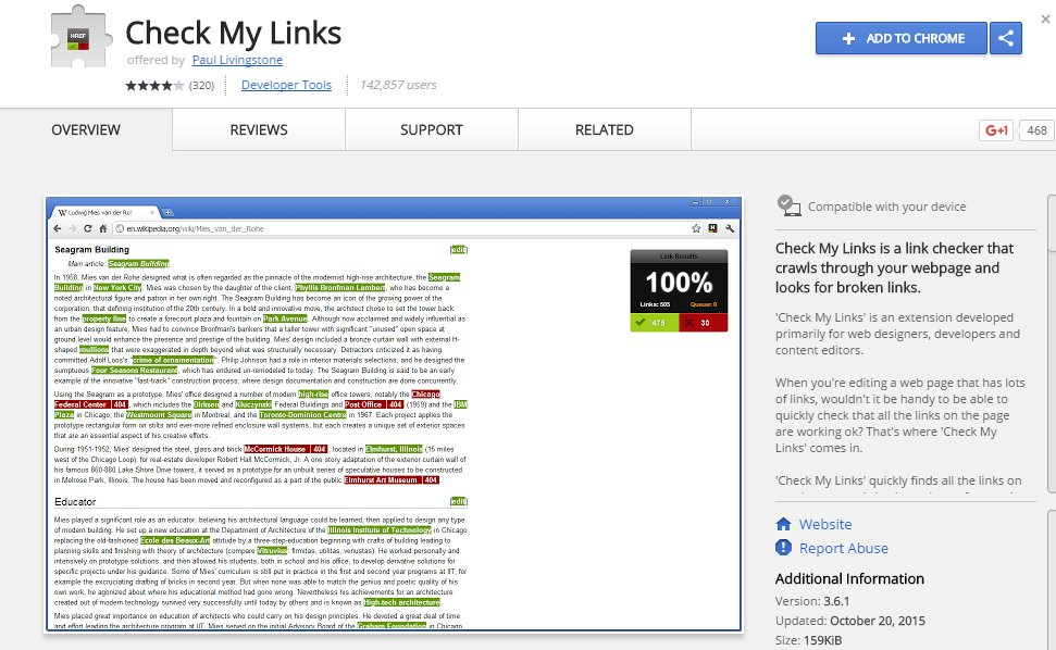 Check My Links Chrome App Extension   Source