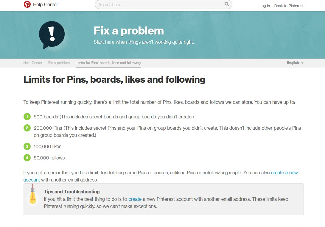 Pinterest Limits On Pins Boards Likes And Following Counts   Source