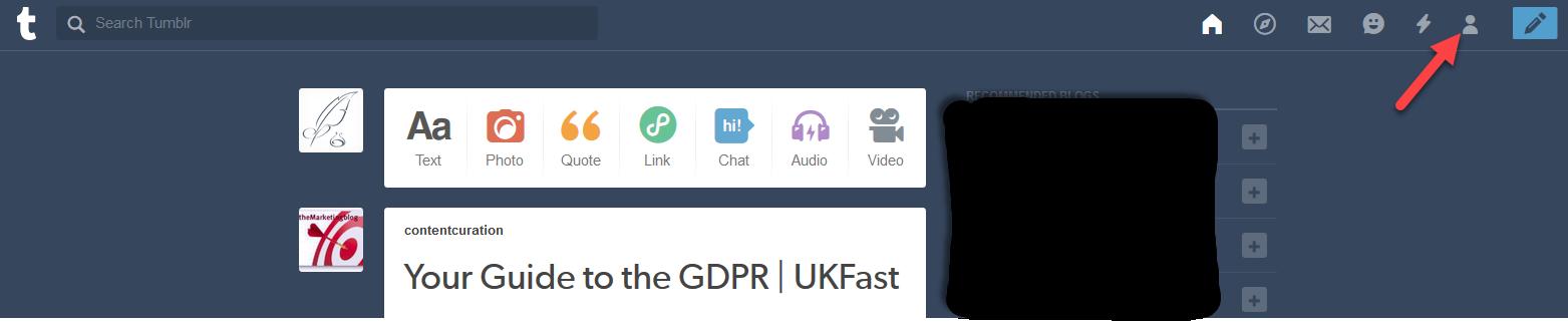 Delete Tumblr Dashboard Page   Source