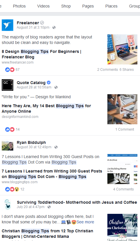 Blogging Tips Public Facebook Posts   Source