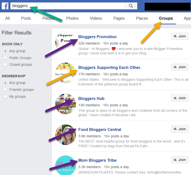 Facebook Search Groups   Source