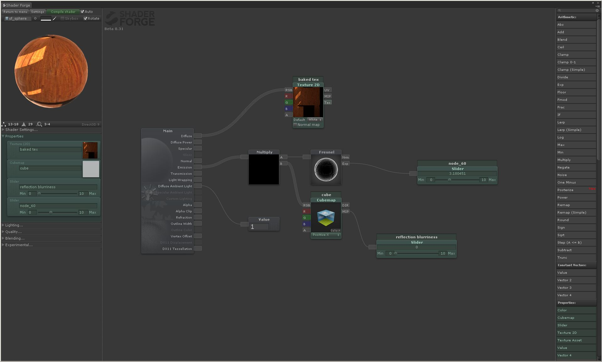 my current Shader Forge shader that allows for a baked complete map & cubemap reflection w/fresnel control