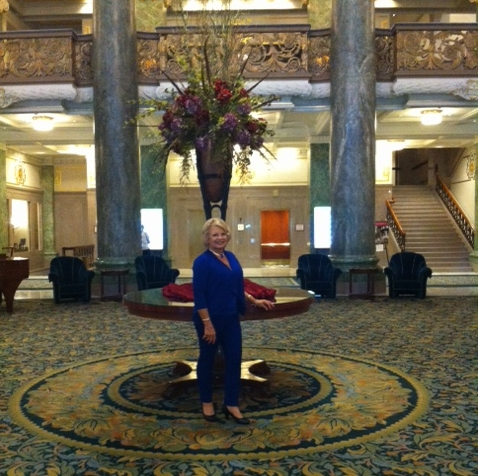 Kathy at the Joseph Smith memorial building before attending and being introduced at the Mormon Tabernacle Choir's rehearsal.