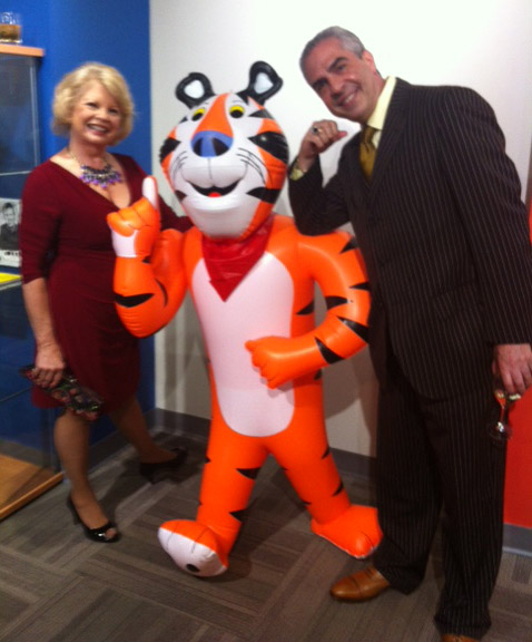 Kathy with Paul Lisnek, erudite raconteur, TV host for politic analysis for WGN and Comcast and Tony the Tiger