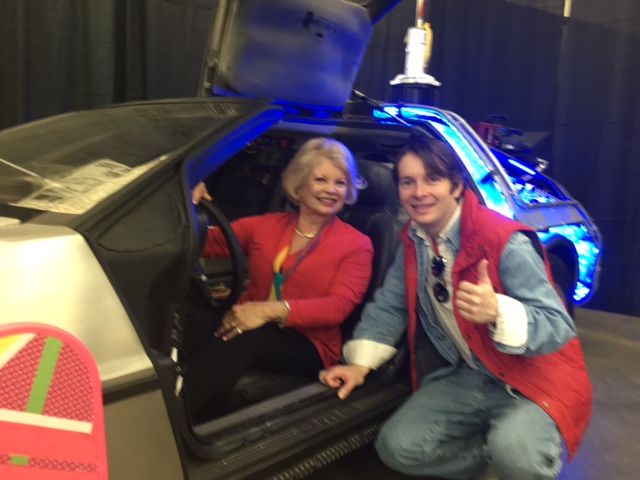 In the Back to the Future car with Marty McFly