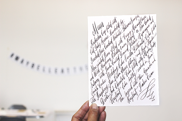 Sample of Maybelle'sexquisitecalligraphy