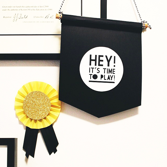 H A N G I N G  >> Happy little banner by  Marsha Golemac  hanging in my home studio.