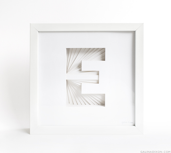E Paper Sculpture by Galina Dixon