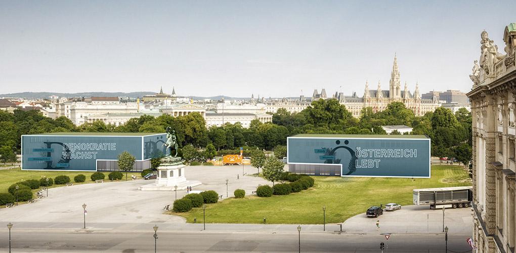 Ansicht temporäre Pavillons aus Sicht der österreichischen Nationalbibliothek