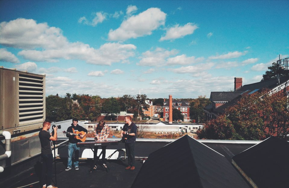 Image of Cold Weather Company performing a live rooftop session for Streamline Cinema GardenTakes.
