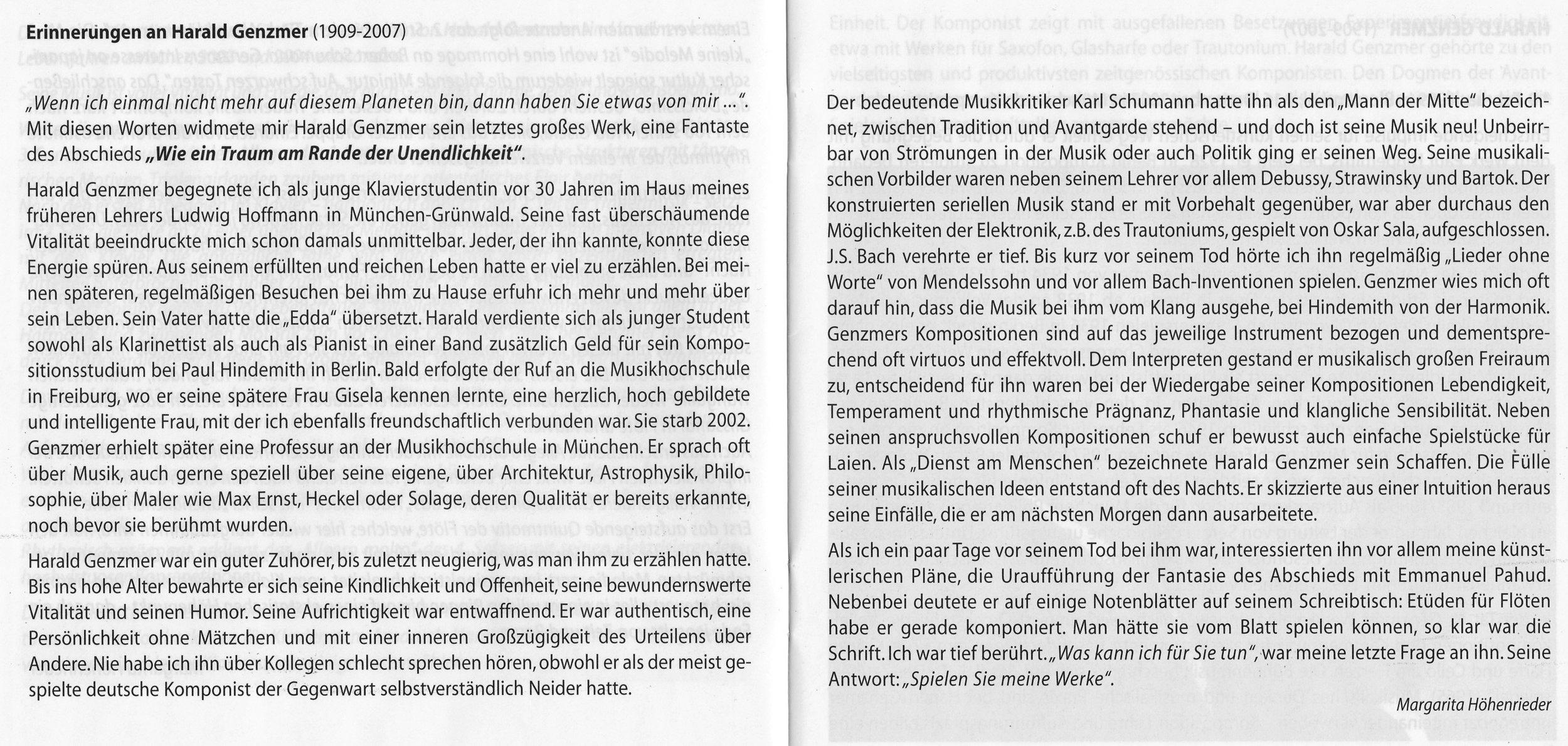 Einnerungen an Harald Genzmer, 2011
