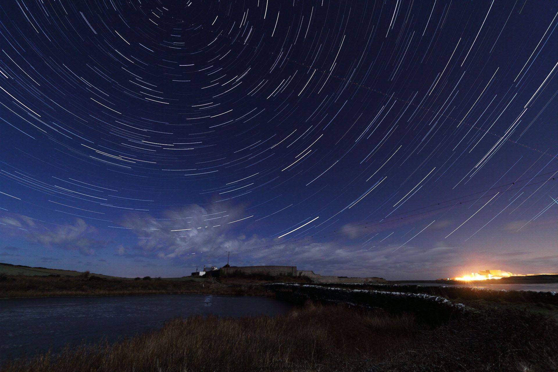 Lapso temporal de las estrellas en el cielo