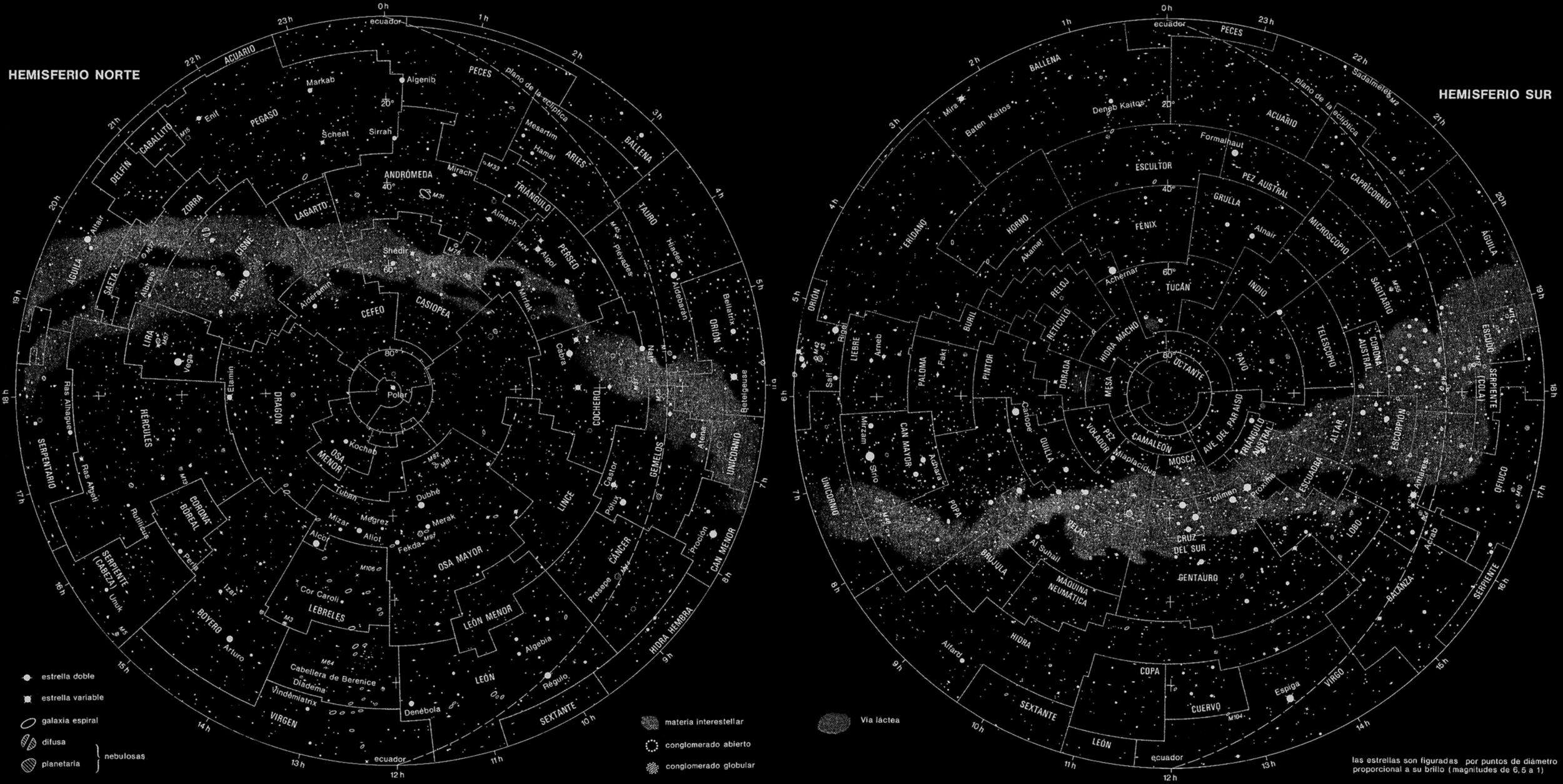 Mapa de constelaciones según hemisferio