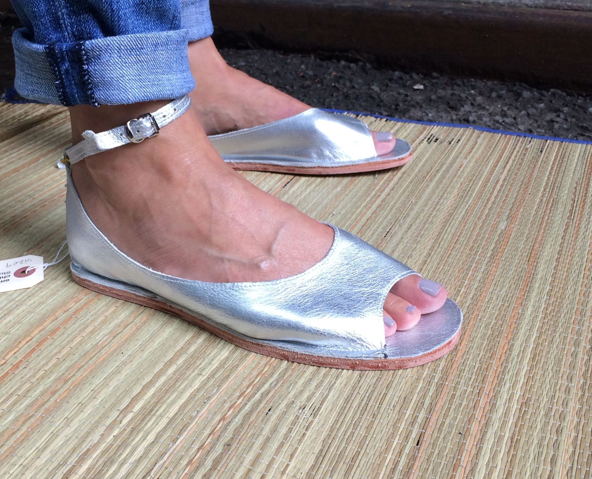 Silver Flats with open toe — Emily Spray