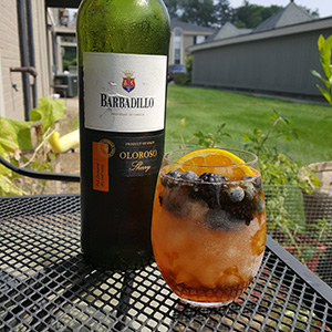 Some Oloroso sherry, a patio, and local berries.