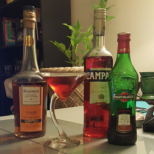 Apple brandy adds a wholly different dimension to this Negroni.