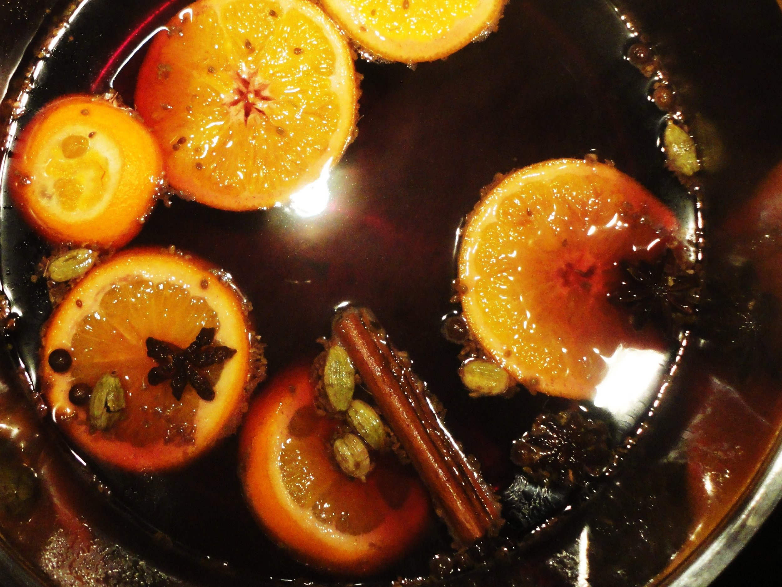 A pot of wassail bubbling on the stove.