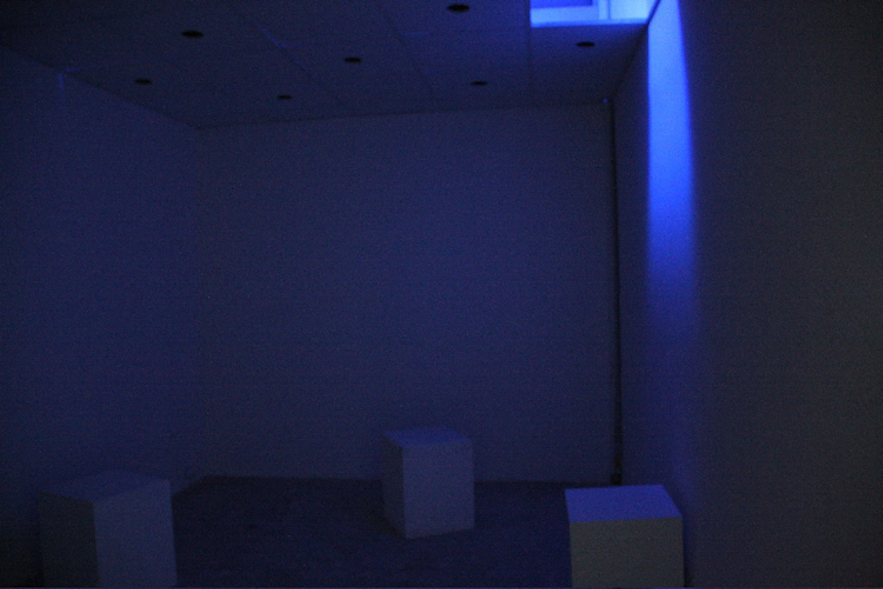 Installation view, Beirut Art Center: the 8 channels are spread over 16 speakers embedded in the low ceiling of a confined space. The sound is spatialized and the visitor would enter as if stepping inside a sound box.